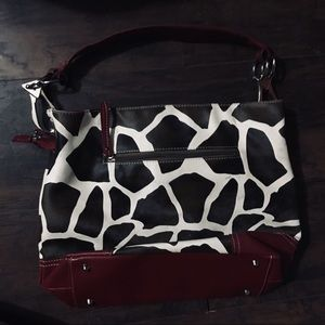 Handbags - Cow print purse with Red lining